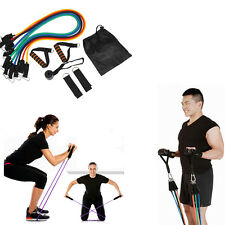 11 Pieces Resistance Bands Set Home Latex Yoga Pilates Exercise Fitness Workout