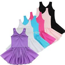 Girls Sleevless Gymnastics Ballet Dance Dress Leotard Tutu Skirt Costume 2-14Y