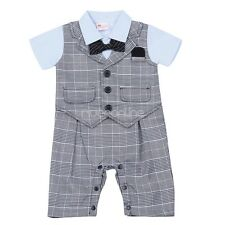 Infant Baby Boys Toddler One-piece Plaid Romper Jumpsuit Gentleman Formal Suit