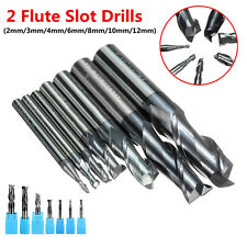 2 Flutes Solid Carbide Tungsten Coated Mill Cutter Slot Drill 2/3/4/6/8/10/12mm