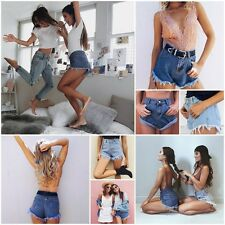New Women Casual Summer Beach Mini Mid Waist Pockets Denim Shorts