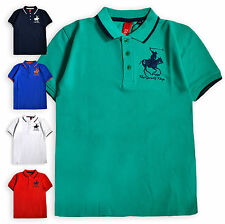 Boys Polo Shirt New Kids Short Sleeved Cotton Blend Horse Pony Top 2 - 6 Years