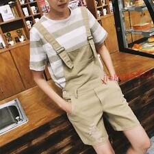 Mens Casual Overall Loose Cotton Pants Jumpsuit Shorts/Trousers #