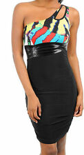 Dress S M L One Shoulder Wild Animal Colorful Club Stretch Keyhole Party New