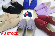 Women Ladies Silp Up Flats Shoe Lace Up Suede Walking Shoes Casual Loafers