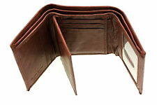 Mens Trifold Wallet Genuine Leather Center Flap 8 Card Slots 2 IDs New Cowhide