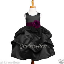 BLACK/PLUM PURPLE PICK UP WEDDING FLOWER GIRL DRESS 6M 12M 18M 2/2T 4 6 8 10 12