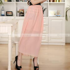 Womens Chiffon Pleated Double Layer Skirt Long Elastic Waist Maxi Dress 18 Color
