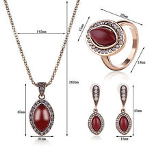 Antique Cut Resin Pendant Rhinestone Necklace Ring Earrings Jewelry Set Glorious