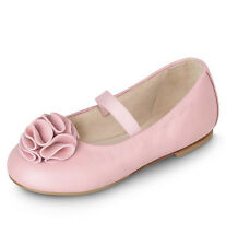 ~TRES CHIC~ BLOCH NEW ZOE TODDLER PINK LEATHER ROSETTE BALLET FLATS 24/7 NIB