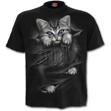 Spiral Direct-Bright Eyes-Front Print T-Shirt Black Cat |Rips |Cute