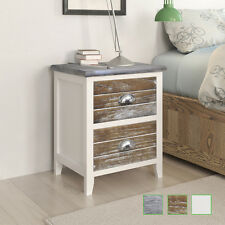 2x Wooden Bedside Table Cabinet Nightstand w/ 2 Storage Drawers Grey/Brown/White