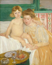 """Mary Cassatt : """"Mother and Child (Baby Getting Up)"""" (c.1899) — Fine Art Print"""
