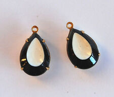 VINTAGE 2 BLACK WHITE & BROWN PAINTED GLASS TEAR DROP PENDANT BEADS • 16x11mm