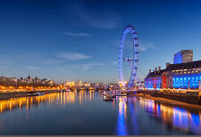 London Eye On The Thames At Night - Cityscape Poster - Photo Print - Scenic Art