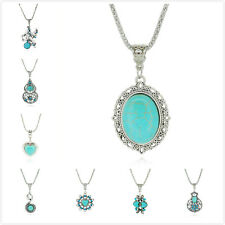 Womens Lover Retro Design Tibet Ethnic Cangyin Plated Turquoise Pendant Necklace