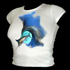 Giant Swordfish in the surf scuba dive / fishing A3 t-shirt ladies all sizes