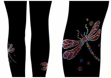 Capri Length Leggings Embellished Rhinestone Shimmering Dragonflies Design