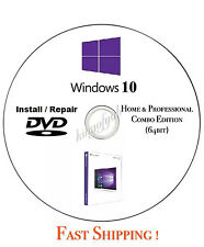 Windows 10 64/32 bit install reinstall refresh recovery repair DVD Disc Support
