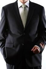 MENS SINGLE BREASTED 2 BUTTON WOOL RICH BLACK DRESS SUIT, 40612N-40601-BLK