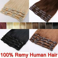 7/8pcs 16/18/20/22inches 100% Real Human Hair Extensions Clip In Full Head SU908