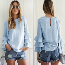 Women Long Bell Sleeve Ruffled Flounce Crew Neck Blouse Casual Shirt Top T-shirt