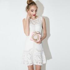 Women White Color Lace Sleeveless Summer Patchwork Hollow Out Dress