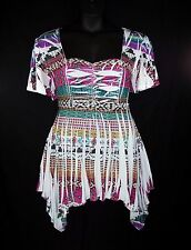 YUMMY PLUS 1X 2X 3X Aztec Print Empire Shark Bite Hem Tunic Top Blouse-NWOT