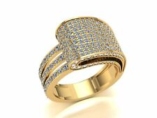 Genuine 3ctw Round Cut Diamond Bridal Cluster Anniversary Band Ring 18K Gold
