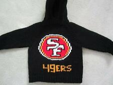 NEW! Hand Knit NFL SF 49ers Baby Sweater back zipper 6 or 12 month Black Hoodie