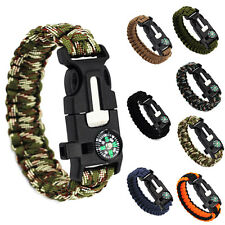 MEN WOMEN Survival Bracelet Compass Flint Fire Starter Whistle Scraper Gear Kits