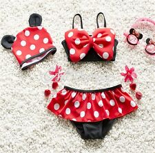 3pc Baby Girl Swimwear Bikini Minnie Tankini Polka Dot Swimsuit Kid Bathing Suit