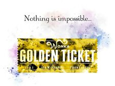 ART PRINT Willy Wonka Golden Ticket Quote illustration, Wall Art, Gift