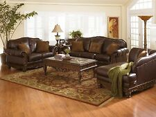 Traditional Dark Brown North Shore Living Room Sofa Set 3pc Stationary Leather