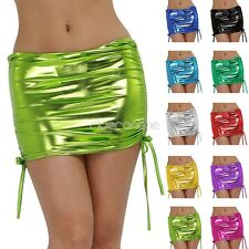 Sexy Lingerie Women Faux Leather Shiny Mini Skirt Panties Clubwear Dance Dress