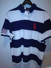Polo Ralph Lauren Custom Fit USA Flag Big Pony Blue and White stripe POLO Shirt