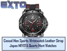 Casual Men Sports Wristwatch Leather Strap Japan MIYOTA Quartz Movt Watches