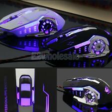 Wired Gaming Mouse 4000 DPI 6 Button USB LED Light Optical for Computer