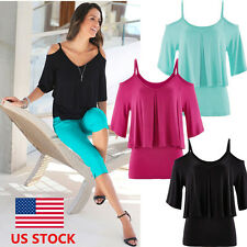 US STOCK Womens Lady Off Shoulder V Neck Casual Shirt Loose Top Blouse Plus Size