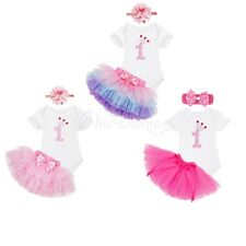 3PCS Baby Girls 1st Birthday Romper Headband Outfits Tutu Skirt Party Clothes