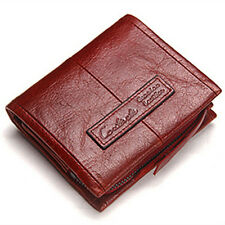 New Genuine Leather Card Coin Holder Purse Bifold Trifold Short Wallet Black Red