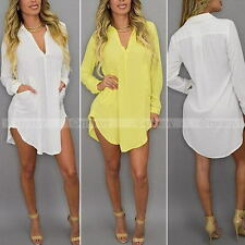 Womens Chiffon Blouses Clothing Long Sleeve Asymmetric Shirt Casual Loose Tops