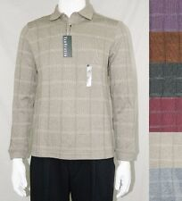 NEW Men's Van Heusen Windowpane Classic-Fit Long Sleeve Polo Shirt NWT