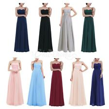 Women's Bridesmaid Chiffon Strapless Long Evening Formal Party Gown Maxi Dress