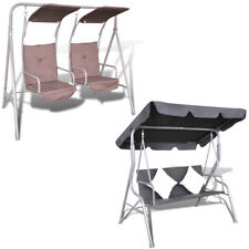 Black/Brown Outdoor Swing Chair Hammock Hanging Bench/Seat Canopy 2 Seater Patio