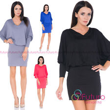 Ladies Casual Party Batwing Dolman Crew Neck Long Sleeve Mini Dress 8216