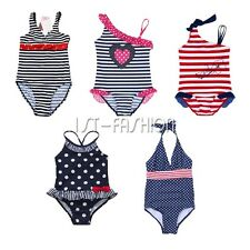 Kids Girls One-piece Polka Dots Striped Bikini Swimming Bathing Costume Swimsuit