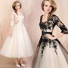 Womens Formal Evening Gown Wedding Dress Lace Prom Ball Cocktail Party Bridal