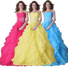 Organza Quinceanera Dress Formal Prom Party Pageant Wedding Bridal Gown Ruffles