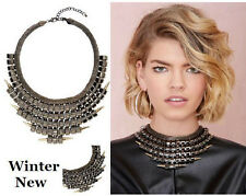 Alloy Fashion Jewelry Feather Choker Chunky Statement Bib Collar Necklace Chain